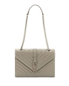 ➳ Pinterest: miabutler ♕Monogram Small Calf Chain Shoulder Bag, Light Gray