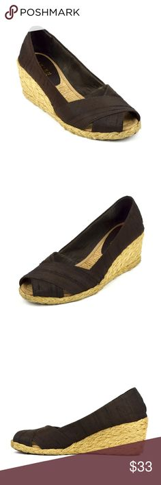 """Ralph Lauren Cecilia Peep Toe Espadrille Wedges Good condition. Well cared. Clean and ready to be used.  Shantung fabric upper Slip on style Textile lining  Synthetic outsole  Approx. 2.25"""" jute wrapped wedge heel Lauren Ralph Lauren Shoes Espadrilles"""