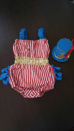 4c92c451e859 First Birthday Cake Smash Outfit for Baby and Toddler Girl Red and White  Stripe Turquoise Yellow or Gold Romper Top Hat Circus Ringleader