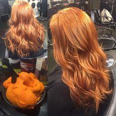 Gorgeous copper color thanks to @schwarzkopfusa Igora Expert Mousse!! So so shiny! #redhead #littlerock #hairstylist #schwarzkopf #curls