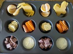 using muffin tins or icecube tray to serve snacks