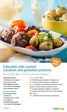 Frikkadels with Roasted Tomatoes and Gremolata Potatoes