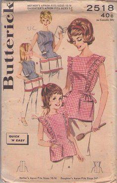 MOMSPatterns Vintage Sewing Patterns - Butterick 2518 Vintage 60's Sewing Pattern SWEETEST Mother & Daughter Cobbler Apron Set, Ruffles, HUGE Pockets, Ball Fringe