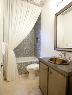 Small Bathroom Curtains la house tour roundup: art in the bathroom | shower doors, ceiling