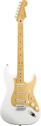 "Squier by Fender Classic Vibe Stratocaster 50s, Olympic White by Squier by Fender. Save 40 Off!. $349.99. The Classic Vibe Stratocaster '50s provides unmistakable '50s-era Fender® vibe and tone. The alder body has a Two-color Sunburst, Lake Placid Blue or Olympic White finish; the vintage-tint gloss-maple neck (Two-color Sunburst and Olympic White models only) has a maple fingerboard with 21 medium-jumbo frets and a modern 9.5"" radius. That long-familiar tone comes from a cus..."