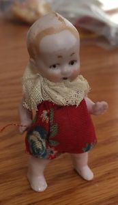 "Antique 2"" Bisque Porcelain Miniature Dollhouse Jointed Doll Germany Clothed"