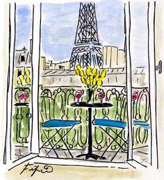 Fifi Flowers Painting du Jour Gallery: Yellow Tulips in Paris