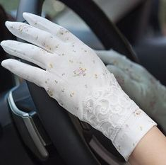 Vintage Roses & Lace Cotton Anti-UV Slip-resistant Wrist Length Driving Gloves – A Lark And A Lady Coupon! Buy 1 Qualifying Boho Chic Accessory Item & Get 1 Qualifying Boho Chic Accessory at off Cotton Gloves, Lace Gloves, Gloves Fashion, Fashion Socks, Off Spring, Elegant Gloves, Wedding Gloves, Driving Gloves, Ethnic Wear Designer