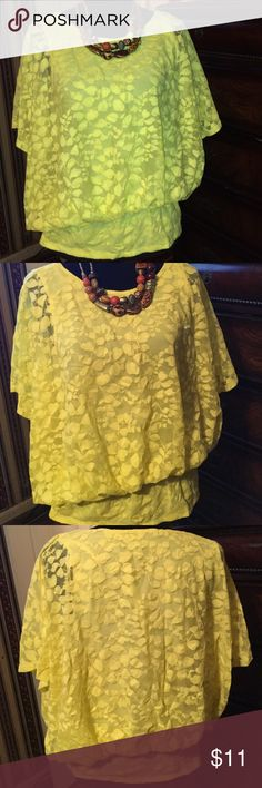 Bright yellow lace see thru sheer Lace see thru blouse Style & Co Tops