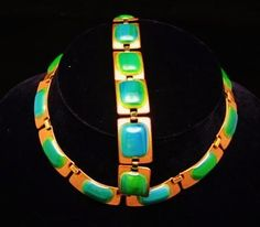 Kay Denning Enamel on Copper Necklace Bracelet  Greens Modernist | eBay