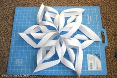 How to make a Paper Snowflake - How To Make A Website - Ideas of How To Make A Website - Paper Snowflake Tutorial step-by-step photos perfect for a Winter Wonderland or FROZEN themed party! events to CELEBRATE! Frozen Themed Birthday Party, Birthday Parties, 5th Birthday, 3d Paper Snowflakes, Glitter Spray Paint, Frozen Party Decorations, Winter Wonderland, Christmas Crafts, Xmas