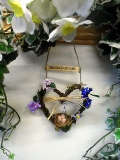 Ostara Spring Equinox Goddess Oestra Rustic Heart & Nest Handmade Pagan Decoration.
