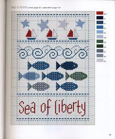 point de croix grille et couleurs de fils poissons