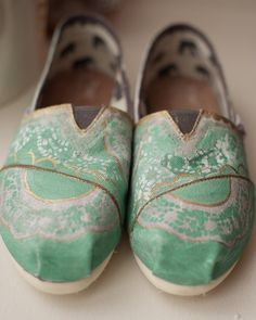 Mint and Gold Lace Custom TOMS Shoes @Rachel Imperial