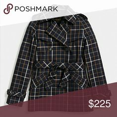 Coach Navy Short Trench Plaid design  56% cotton 44% polyester Fully lined Lining: 100% polyester Double breasted button closure Adjustable belt included Belted sleeve cuffs for adjustability Button shoulder board  Button slanted pockets Leather trim Logo Coach Jackets & Coats Trench Coats