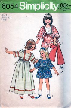 Simplicity 6054 1970s Girls CAFTAN Pattern Mini Maxi  childs vintage sewing pattern by mbchills