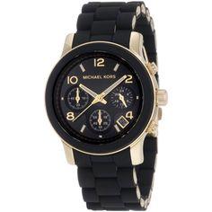 Michael Kors Ladies Runway Chronograph Black & Gold Bracelet Watch MK5191 | eBay
