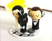 DJ Music Themed Wedding Cake Topper and pet Custom Kokeshi Spool Doll 3D Clay Headphones Record Musical Notes Stand Wooden Wedding Cake