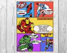 MARVEL AVENGERS COMIC Book Birthday Party Invitations by BBNGRAFX