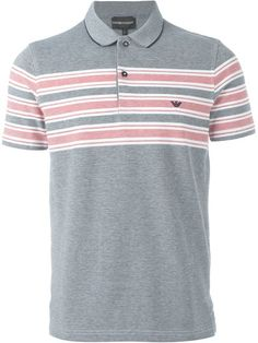 EMPORIO ARMANI Stripe Detail Polo Shirt. #emporioarmani #cloth #shirt Polo Rugby Shirt, Mens Polo T Shirts, Striped Polo Shirt, Men's Polo, Armani Men, Emporio Armani, Hugo Boss, Check Shirt, Vogue