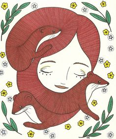 "#illustration ""her hair was wily and unpredictable"""