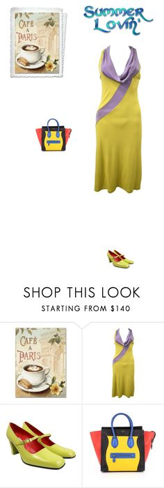 """""""#8191 - City Cafe - Paris"""" by pretty-girl-in-fashion ❤ liked on Polyvore featuring Trademark Fine Art, CÉLINE and vintage"""