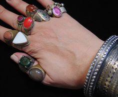 WL4147-Großhandel Menge 10 Jahrgang Kuchi und turkmenischen Ringe - sehr guter Zustand