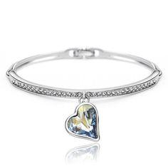 Blue Austrian Crystals Rhinestones Heart Love Cuff Bangles & Bracelets Indian Best Friend Birthday Fashion