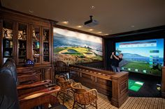 A golf course in a man cave? This design is genius! A golf course in a man cave? This design is genius! man cave What kind of acces Man Cave Designs, Home Theater, Theatre Rooms, Cinema Room, Golf Man Cave, Sports Man Cave, Best Man Caves, Bachelor Pad Decor, Modern Man Cave