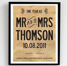 personalised 1st wedding anniversary print by i love art london   notonthehighstreet.com