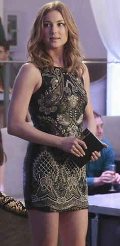 Emily's black embellished mini dress on Revenge.  Outfit Details: http://wornontv.net/30988/ #Revenge