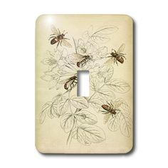 Vintage Bee Drawing Light Switch Cover made of durable scratch resistant metal that will not fade, chip or peel. Featuring a high gloss finish, along with matching screws makes this cover the perfect finishing touch. Switch Plate Covers, Light Switch Plates, Light Switch Covers, Bee Drawing, I Love Bees, Vintage Bee, Bee Tattoo, Bee Crafts, Bee Art