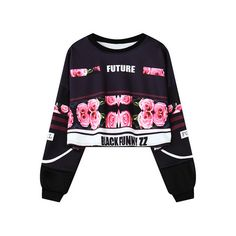 SheIn(sheinside) Black Rose Letter Print Crop Sweatshirt ($19) ❤ liked on Polyvore featuring tops, hoodies, sweatshirts, black, shirts, sweaters, black sweat shirt, black sweatshirt, floral sweatshirt and print sweatshirt