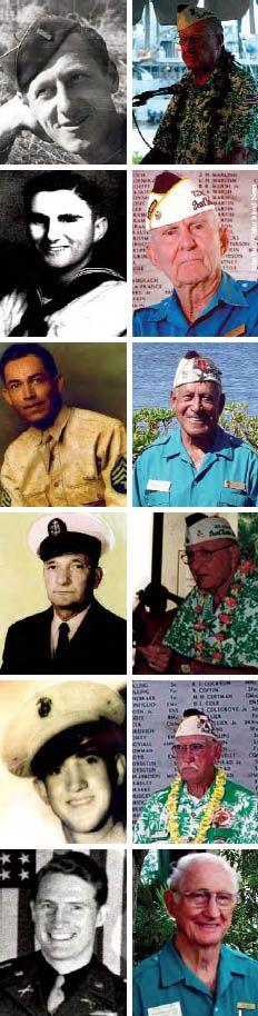 42. Meet a Pearl Harbor survivor. Pictured here (top-bottom): Robert Kinzler, Everett Hyland, Herb Weatherwax, Warren Verhoff, Richard Fiske, Tom Unger.