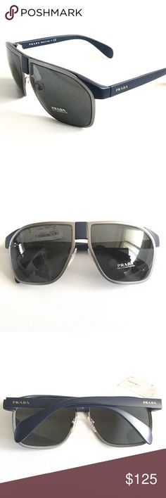 Authentic Prada Aviator Sunglasses Authentic Prada SPR 21P aviator sunglasses.  Matte blue and gunmetal, gray lens.  100% UV protection.  Can be worn by men or women.  Made in Italy.  No case or box, but will ship with a random case for protection.  No trades. Prada Accessories Sunglasses