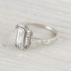 Image of .90 Carat Sapphire & Diamond Vintage Art Deco Engagement Ring