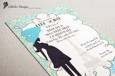 Paris Bebe Soiree Theme Baby Shower Invitation by pixieboladesigns