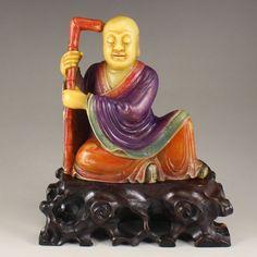 Vintage China Colored Soapstone Buddhism Arhat Statue 中國清代 皂石羅漢雕像