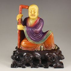 Vintage China Colored Soapstone Buddhism Arhat Statue 中國清代 皂石羅漢雕像