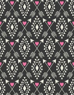 Tribal Aztec with Hearts & Arrows Art Print