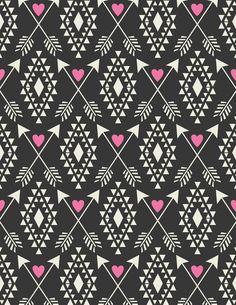 Tribal Aztec with Hearts & Arrows Art Print