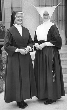 Early version of the Daughters of Charity habit and the 1964 modified version