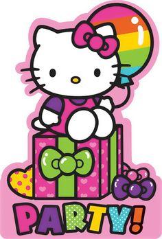 Hello Kitty Rainbow Invitations (8)