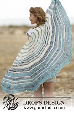 "Summer Tide - Knitted DROPS shawl in garter st with stripes in ""Fabel"". - Free pattern by DROPS Design"