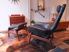 IB Kofod Larsen prototype Rocking Chair w/ Ottoman. eBay