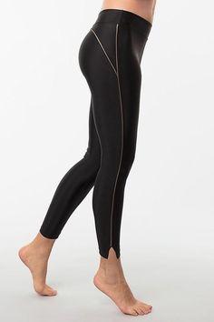 High Rise Bronze Stripe Leggings Gold Jacket, Striped Leggings, Girl Gang, Bodysuit, Gems, Bronze, Workout, How To Wear, Fashion