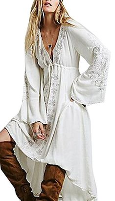 WSPLYSPJY Womens Fashion Beach Long Sleeved Plunge Neck Dress Embroidery  Ethnic Style Lace-up Maxi