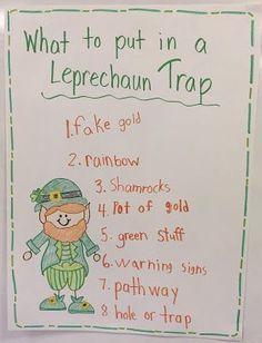 Leprechaun traps for kids: Build easy leprechaun traps with first grade or kindergarten kids. Leprechaun trap anchor chart.