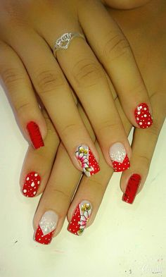 Pin by Lori Addison-Simmons on Nail ideas in 2019 Crazy Nail Art, Crazy Nails, Pretty Nail Art, Cool Nail Art, Fingernail Designs, Nail Art Designs, Red Acrylic Nails, Hot Nails, Fabulous Nails