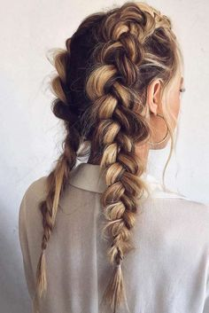 Double Dutch Braids ❤ Seeking trendy hairstyles for diamond face shape? Short pixie cuts with bangs, layered shoulder length haircuts and many hairstyles for long hair are here to update your style! Face Shape Hairstyles, Trendy Hairstyles, Straight Hairstyles, Hairstyles Haircuts, Hairdos, Summer Hairstyles, School Hairstyles, Casual Hairstyles For Long Hair, Wedding Hairstyles